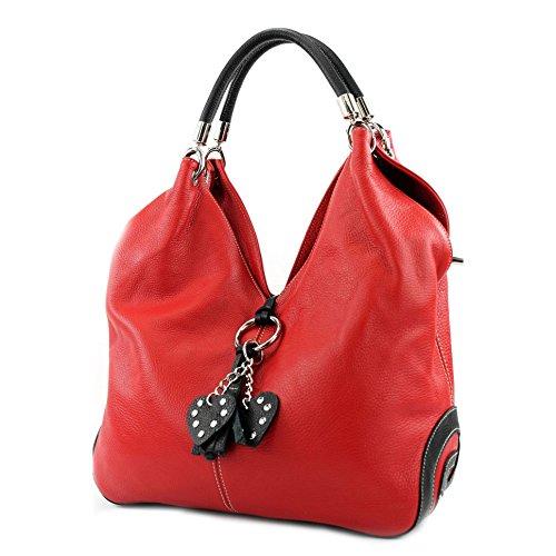 modamoda de - 330 - ital Handtasche Shopper Schultertasche Leder, Farbe:Rot/Schwarz
