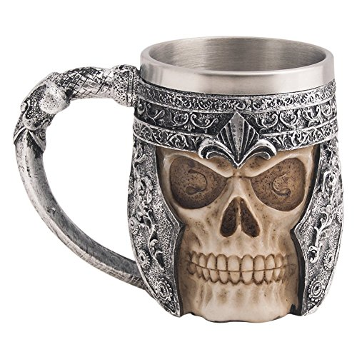 CHICVITA Viking Stainless Steel Skull Coffee Mug Viking Skull Beer Mugs Gift for Men Father's Day...