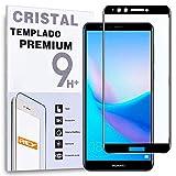 REY - Protector de Pantalla Curvo para Huawei Y9 2018 - Enjoy 8 Plus, Negro, Cristal Vidrio Templado Premium, 3D / 4D / 5D