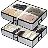 Under Bed Shoes Storage Organizer Bag Fits 12 Pairs Shoes and 4 Pairs Boots, Foldable Underbed Storage Bins Container for Kids, Men, Women Shoes Set of 2