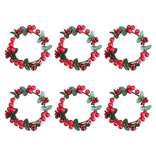 ASSR 6 anillos de vela de Navidad, 5.5 pulgadas de bayas rojas artificiales anillos de vela pequeña corona de vela de Navidad para adornos de centro de mesa de boda