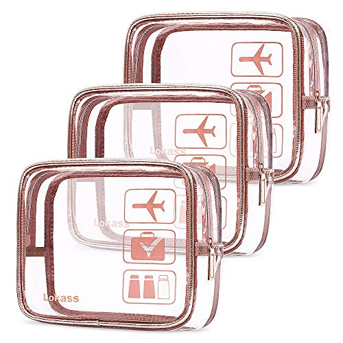 OrgaWise Kulturbeutel Transparente 3/5er Set PVC-Kulturtasche Durchsichtig für Reisekosmetik im Koffer und Handtasche, Transparente Kosmetiktasche für den Transport von Flüssigkeiten im Handgepäck
