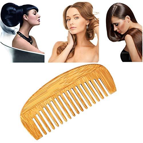KISSION Peigne en Bois Antistatique Portable Poche Peigne en Bambou pour Hommes Femmes Cheveux Barbe (Bambou)