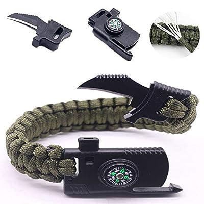 RMQ EDC Bracelet Men Multi-Function Paracord Survival Bracelet Outdoor Camping Survival Emergency Rope Bracelets - Paracord Knife Bracelet Functional Parachute (Army Green)