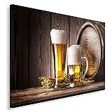 Feeby Frames, Cuadro en lienzo, Cuadro impresión, Cuadro decoración, Canvas de una pieza, 40x60 cm, CERVEZA, ALCOHOL, BARRIL, JARRA, CRISTAL, CULINARIA, RÚSTICO