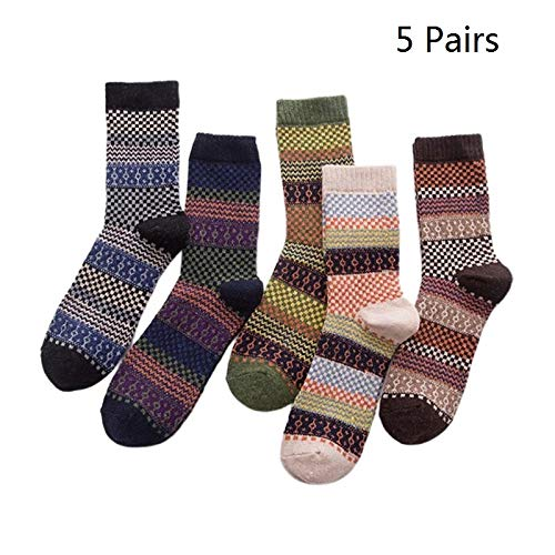 Losping Womens Socks 5 Pairs/Set Wool Cashmere Socks Warm Winter Thick Vintage Comfortable Women Dress Sock for Lover