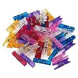yueton 50pcs Mini Colorful Clear Plastic Clothespins Clip, Clothes Line Clips, Clothesline Utility Clips