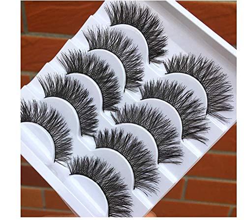 HYTGF Faux Cils Styles Cils 5 Paires de Fil Naturel Faux Cils croisés malpropre bouclés Doux Faux Cils scène Spectacle Maquillage Cils épais