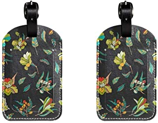 Black FlowerLeather Luggage Tags Suitcase Labels Bag Travel ID Bag Tag, 1 Pcs