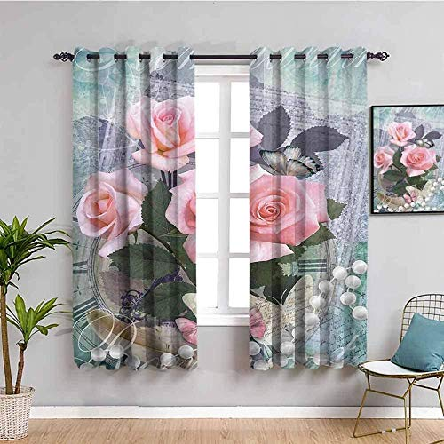 LucaSng Blackout Curtain Thermal Insulated - Vintage roses butterflies pearls - 104x63 inch - for Bedroom Kitchen Living Room Boy Girl Window - 3D Digital Printing Eyelet Ring Curtain