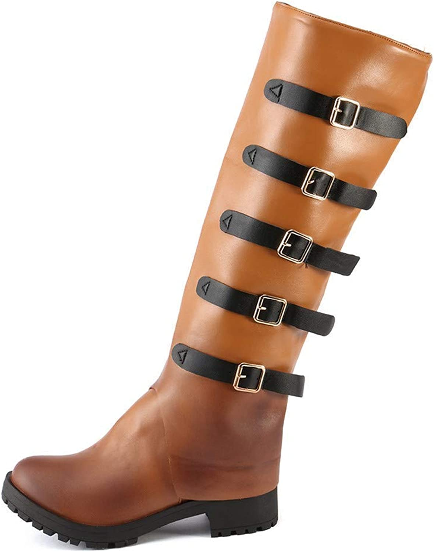 Oudan Stiefel Damen Schuhe Damenstiefel Mode Frauen Mode Leder Vintage Knie Stiefel Starke Ferse Flache Schnee Freizeitschuhe Winterstiefel Turnschuhe Stiefel (Farbe   Braun, Größe   42 EU)  | Mode-Muster  | Neu