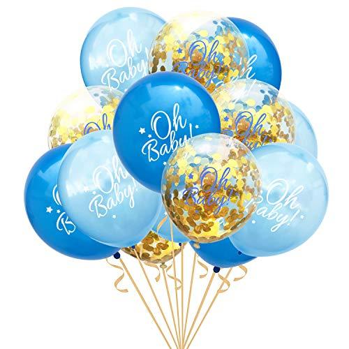 Oblique Unique® Konfetti Luftballon Set Oh Baby! für Baby Shower Baby Party Deko Feier zur Geburt eines Jungen Blau Gold