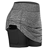 Image: FKSESG Women Summer Athletic Tennis Skirts | Inner Shorts | Elastic Sports Golf Skorts | with Pockets
