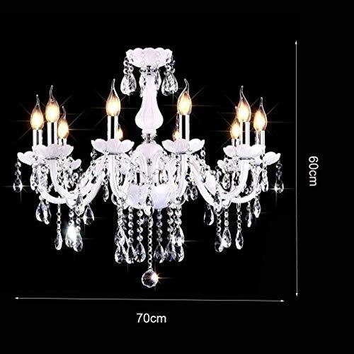 YUQIYU Cristal de la lámpara pendiente de la lámpara de iluminación, 3 luces, lámpara moderna lámpara de la vela for sala de estar dormitorio Restaurante Bar Cafe, 12 Luces / 86 * 60cm