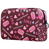 Bolsa de brochas de maquillaje personalizable, bolsa de aseo portátil para mujer, bolso cosmético, organizador de viaje, sabroso macarons corazones