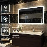 LED Badspiegel mit Beleuchtung 60x100cm, Badezimmerspiegel Wandspiegel mit Beleuchtung Lichtspiegel...