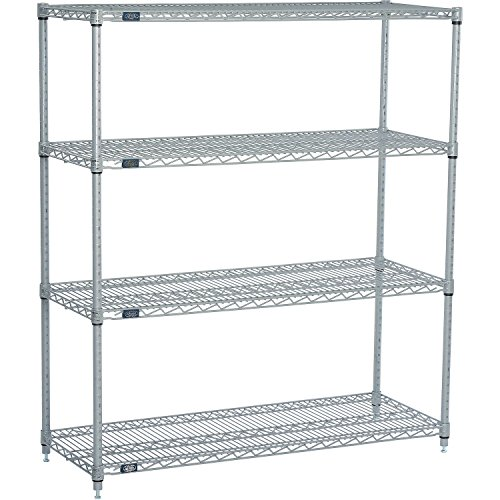 """Nexel Adjustable Wire Shelving Unit, 4 Tier, NSF Listed Commercial Storage Rack, 24"""" x 48"""" x 86"""", Silver Epoxy"""