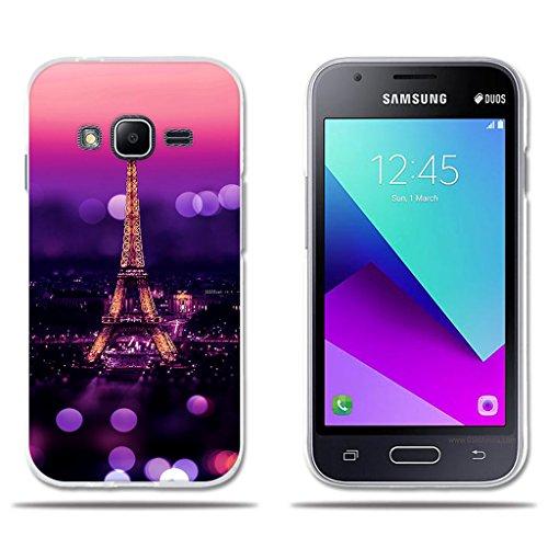 fubaoda Funda Samsung Galaxy J1 Mini Prime Escena Nocturna de la Torre Eiffel, Flexible Funda Protectora Anti-Golpes para Samsung Galaxy J1 Mini Prime