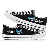 LVABC Zapatos de Lona vibrato TikTok para Hombres y Mujeres Zapatos de Tela Transpirables para Estudiantes de Estilo Coreano Low-Top Casual-Black_37