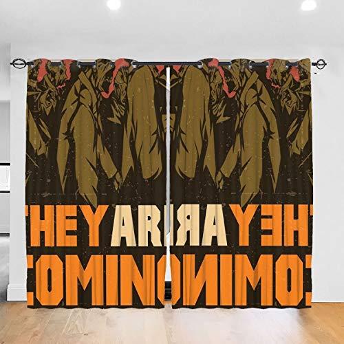 Ze komen eraan! Slaapkamer verduisteringsgordijnen zachte gordijnen Geïsoleerde kamer Slaapkamer Print Woonkamer, Woonkamer Gordijnen 2 Panelen (W52X L72 Inches)