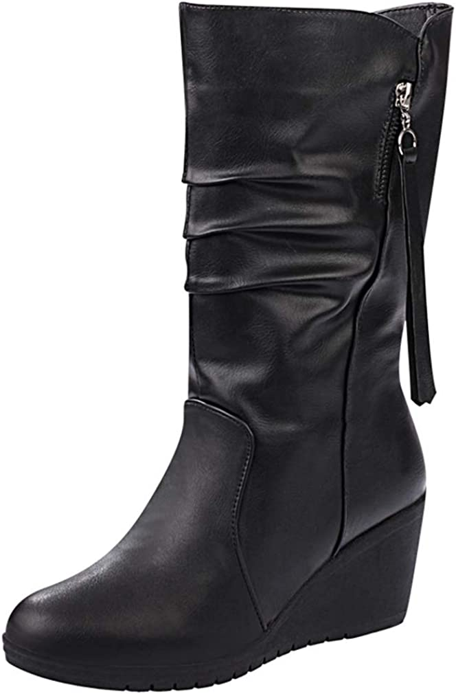 CYBLING Challenge the lowest price of Japan Women's Slouchy Wedge Boots San Jose Mall Round Lined Fur Toe Win Faux