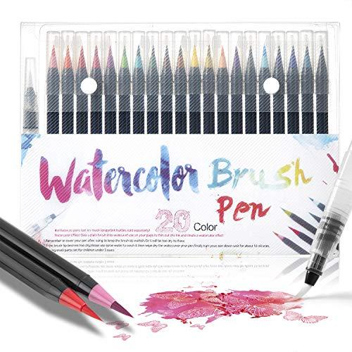 Wodasi Watercolor Brush Pens Set, 20 Stylo Aquarelle + 1 Aqua Brush, Feutres Pinceaux Couleurs pour Coloriage Adulte, Bullet Journal Accessoires, Stylo Calligraphie
