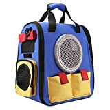 Texsens Cat Backpack Carrier, Super Breathable Carrier Backpack, Airline-Approved Bubble Cats and Puppies Backpacks, Designed for Hiking, Travel& Walking (Blue &Yellow)
