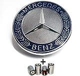 Emblème à étoile plat pour capot avec guirlande bleue pour classe C et W203 W204 avec bouchons de valve