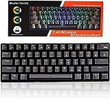 Teclado mecánico de juego RGB retroiluminado Wired PBT Keycap impermeable Tipo-C Mini Compact 61 teclas teclado del ordenador (negro)