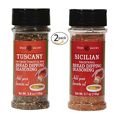 Dean Jacob's Bread Dipping Blend, Tuscany 3.8 oz and Sicilian 3.7 oz Stacking Jar 2 pack