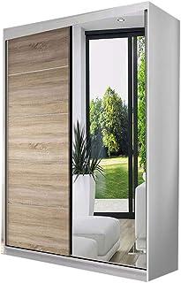 E-MEUBLES Armoire de Chambre avec 2 Portes coulissantes | Penderie (Tringle) avec étagères (LxHxP): 120x200x61 Noah 05 (Bl...