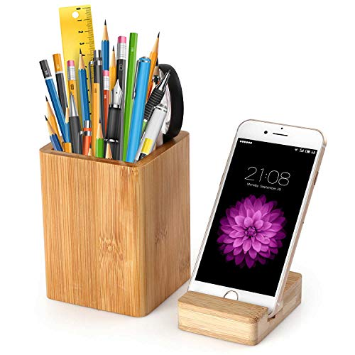 Pen Pencil Holder and Phone Stand, Bamboo Wood Phone Stand,Bamboo Wood Desk Pen Pencil Holder Stand Multi Purpose Use Pencil Cup Pot Desk Organize (Bamboo)