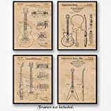 Vintage Gibson Guitar Patent Poster Prints, Set of 4 (8x10) Unframed Photos, Great Wall Art Decor...