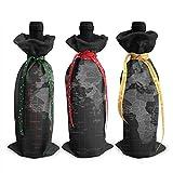 Tarjeta de husos horarios impresa, cubierta de botella de vino, decoración de bolsas de manta, para suministros de fiesta de degustación de vino de Navidad