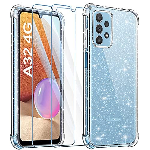 LeathLux Cover Compatibile con Samsung Galaxy A32 4G Trasparente Silicone Antiurto Glitter Brillantini con 2 Pezzi Pellicola Vetro Temperato, Cutosdia per Samsung Galaxy A32 4G