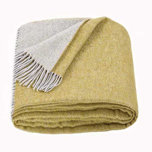 LoveYouHome Doppelseitige Wolle Merinowolle Decke-Kuscheldecke Extra groß Überwurf Merino (140 cm X 200 cm - Senf-Gelb)