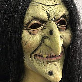 Amazon.com: Vieja Mujer Bruja Máscara Cara Verde Halloween espeluznante Horror Cosplay Disfraz : Juguetes y Juegos