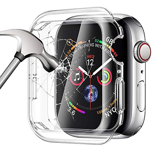 SIRUIBO Tempered Glass Screen Protector Compatible for Apple Watch Series 6 SE 44mm, Soft TPU Bumper Case Slim Easy Install Touch Accessories Overall Protective Cover for iwatch Series 6/5/4 SE Clear
