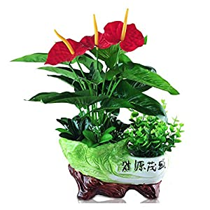 zunruishop Green Plants Faux Plants Artificial Tropical Anthurium Lily Flowers with Ceramic Flowerpot for Home Living Room Office Lucky Decoration Decoration Artificial Potted Plant