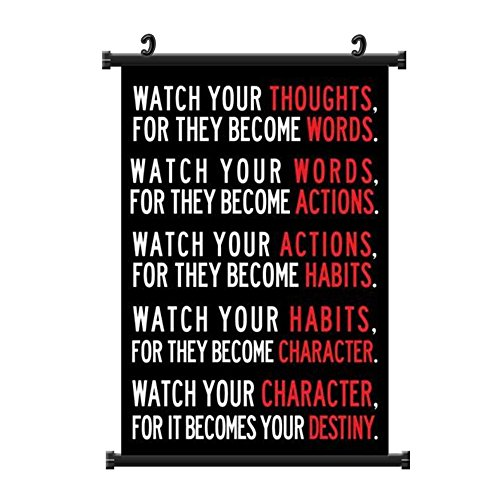 Purple Verbena Art Watch Your Thoughts Poster, Decor for Classroom Office Home, Motivational Fabric Wall Scroll Posters, 13x19 Inch