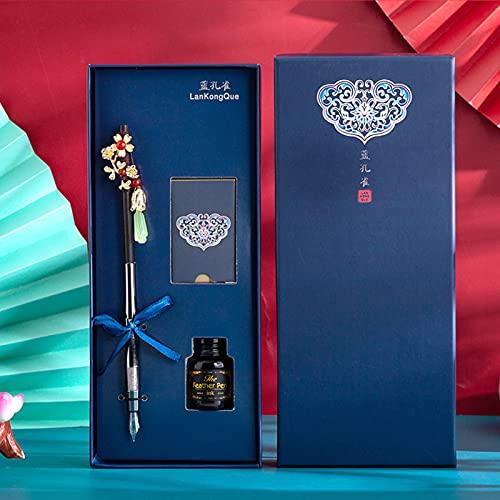 HIOD Bolígrafo con Forma de Horquilla Retro Estilo Chino Tradicional Caja Elegante Material Escolar de Papelería,Blue3