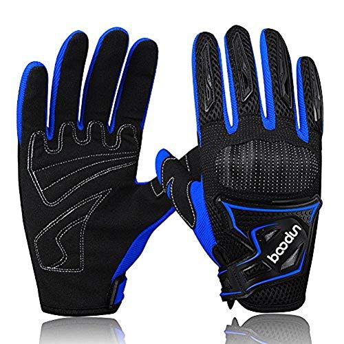 ARTOP Motorrad Handschuhe, Motorrad Cross Atmungsaktiver Handschuh mit Schutz PVC Shell Für Männer Frühling-Sommer-Herbst(Blau,M)