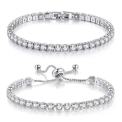 Pulseras de tenis para mujer con diamantes de oro blanco AAA y circonitas cúbicas ornamentales clásicas ajustables, pulsera plateada de la amistad, bisutería de regalo de boda