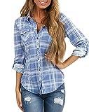 NUOREEL Women's Classic Plaid Shirt Button Down Shirts Roll Up Long Sleeve Cuffed Shirts (Cornflower, Medium)