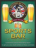 The British Bulldog Sports Bar 注意看板メタル安全標識注意マー表示パネル金属板のブリキ看板情報サイントイレ公共場所駐車ペット誕生日新年クリスマスパーティーギフト