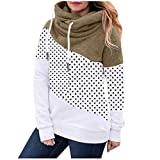 Hoodies for Women, Cowl Neck Color Block Patchwork Fall Hoodie Sweatshirts Warm Basic Womens Hoodie Pullover from Vanankni