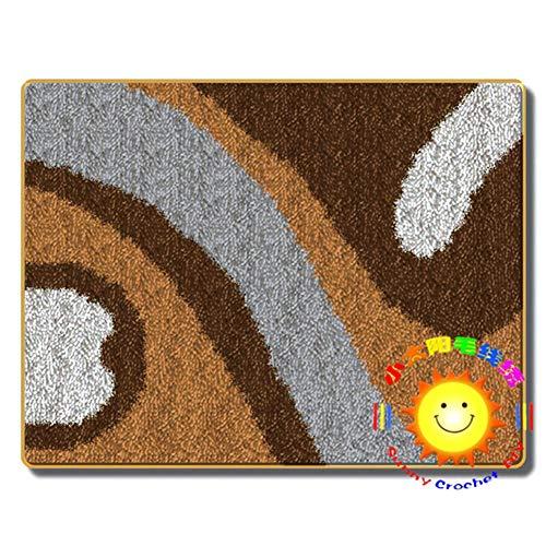 Latch Hook Alfombra Kits 2 Piezas Alfombra Bordado Lo Hace Bricolaje Kit Alfombra de Felpa Alfombrilla para niños y Adultos,Marrón,52x38cm/20x15 Inch