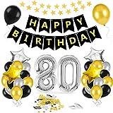 80 Oro Negro Plata Globos Cumpleaños Decoracione,80 Años de Antigüedad Fiesta de Cumpleaños Decoraciones, 80 Globos de Papel Plata para Hombres y Mujeres Adultos Oro Negro Plata Decoración de Fiesta