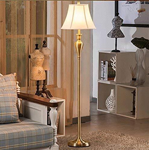 BXU-BG Lámparas de pie, Led de estilo europeo de lujo Sala de estar Lámpara de piso, American Retro cobre Den Jane Europea creativo minimalista dormitorio lámpara de pie, Vertical Eye-El cuidado de lu