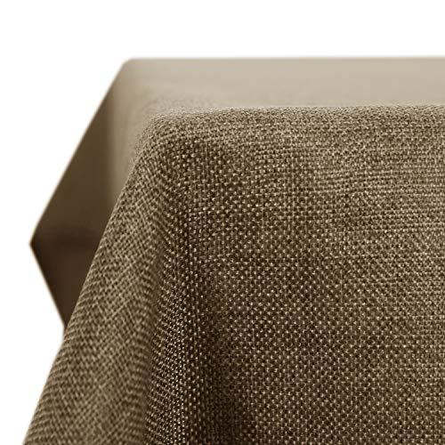 Deconovo Leinenoptik Tischdecke Wasserabweisend Tischwäsche Lotuseffekt Tischtuch 130x130 cm Taupe